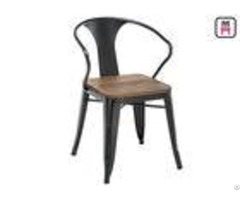 Tolix Arm Metal Restaurant Chairs Wood Seats Commercial Outdoor Furniture