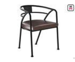 Loft Design Industrial Style Metal Restaurant Chairs With Leather Seats Arm Chair