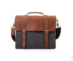 Leather Vintage 15 6 Inch Laptop Messenger Men S Canvas Satchel Briefcase College Bag