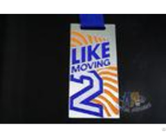 Like Moving 2 Logo Custom Award Medals With Black Ribbon Yellow Printed Color