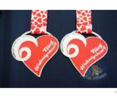 2d Double Side Red Heart Medal Die Cast Craft Medallions Corrosion Resistant