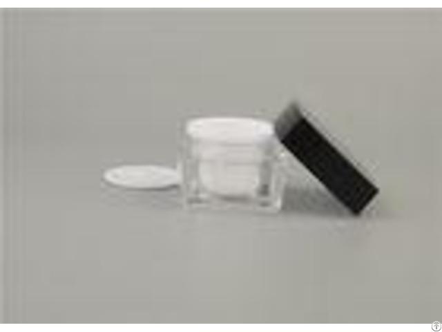 Skin Care Square Black Cosmetic Jars Cream Packaging 15ml 30ml Plastic Acrylic