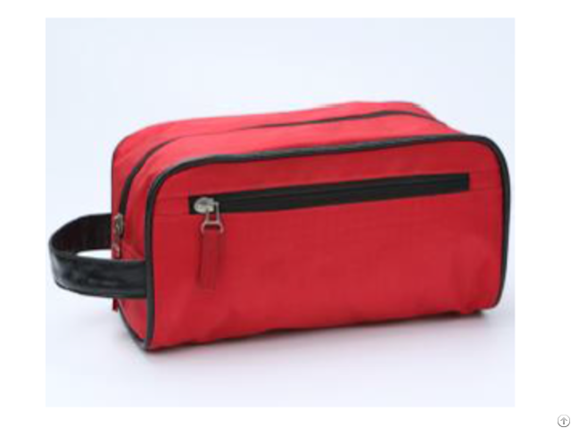 Red Oxford Cloth Pu Handle Cosmetic Bag