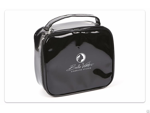 Black Enamel Pu Cosmetic Bag
