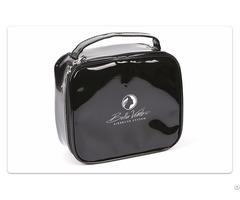 Black Enamel Pu Cosmetic Bag