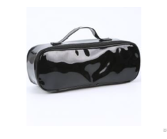 Black Long Enamel Pu Cosmetic Bag