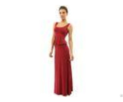 Burgundy Tank Top Maxi Dress Blouson Style Womens Summer Beach Dresses