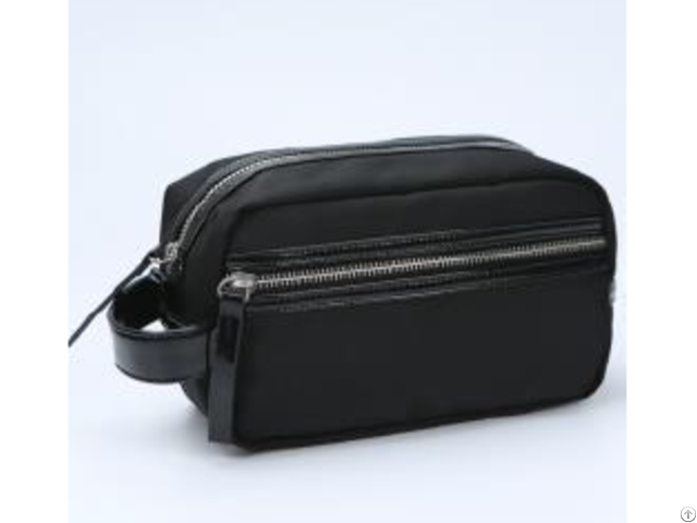 Black 1680d Enamel Pu Handle Cosmetic Bag
