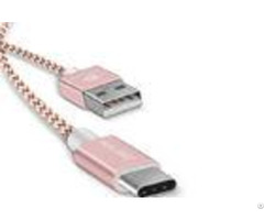 Pink Quick Charge Type C Cable 2 1a Fast Sync 480mbps Nylon Braided 3 28ft 0 66ft