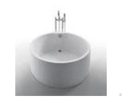 Acrylic White Color Round Freestanding Bathtub Deep Soaking Tub With Overflow