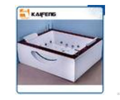 Indoor Double Whirlpool Tub With Oak Edge Cover Seamless Air Bubble Bathtub