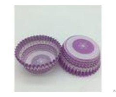 Purple Round Shape Muffin Paper Cups Striped Cupcake Linersfda Sgs Standard