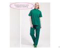 Stand Collar Scrubs Medical Uniforms Short Sleeve Cotton Green Surgical Gown