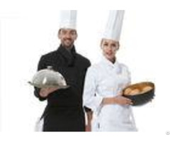 Men Polyester Fabric Kitchen Staff Uniforms Rollable Cuffs Black And White With Hat