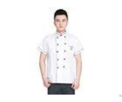 Embroidery Logo Restaurant Work Shirts Cotton Anti Wrinkle With Stand Collar