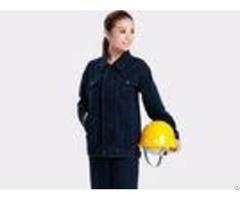 Dark Blue Winter Unisex Work Uniform Coveralls Denim Fabric Wrinkle Resistance