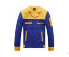 Formal Blue And Yellow Work Overall Jackets Durable With Hit Color Pocket Design