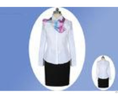 White Fabric Professional Work Uniforms 100% Polyester Cotton With Single Breasted