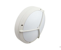 White Housing Led Bulkhead Wall Light Aluminum Ip65 Ik10 With Grill For Outdoor