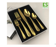 Restaurant Used Black Matt 5pcs Stainless Steel Gold Flatware Set