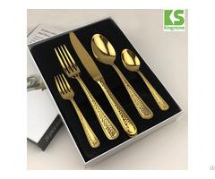 Restaurant Used Black Matt 5pcs Stainless Steel Gold Flatware Set