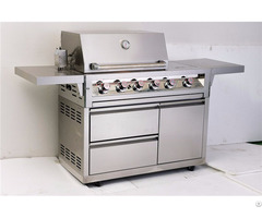 Outdoor 4 Burner High Quality Freestanding Gas Grill With Cast Iron Main Burners