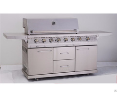 Full Stainless Steel 6 Burner Outdoor Gas Grill With Drawers And Doors