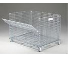 Zinc Coated Industrial Stackable Collapsible Wire Container With Casters Movable