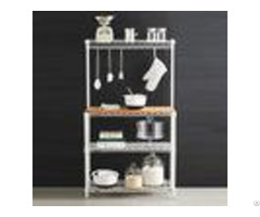 Baker S Wire Metal Shelving Rack White Powder Coating Steel With Wooden Shelf