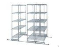 High Density Compact Floor Track Double Deep Sliding Wire Storage Racks Solutions
