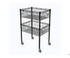 Nsf Approval 2 Layers Commercial Black Kitchen Wire Metal Storage Baskets Shelving