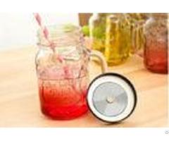 500ml Mason Storage Glass Jar Container With Iron Lid Straw Multi Color