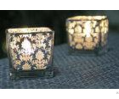 Square Printing Glass Votive Holders Various Size Oem For Home Decoration