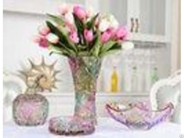 Colored Sunflower Decorative Glass Vases Classical For Home Deco Elegant Gift