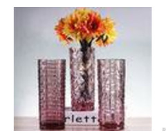 Sweet Pink Tulip Flower Decorative Glass Vases Tall For Bar Decoration