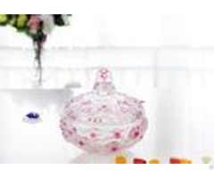 Plum Blossom Pink Candy Bar Glassware With Lid Small Flower Glass Jars Bulk