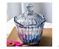 Blue Large Glass Candy Jar Ktv Decoration Sugar Bowl With Lids Machine Pressed