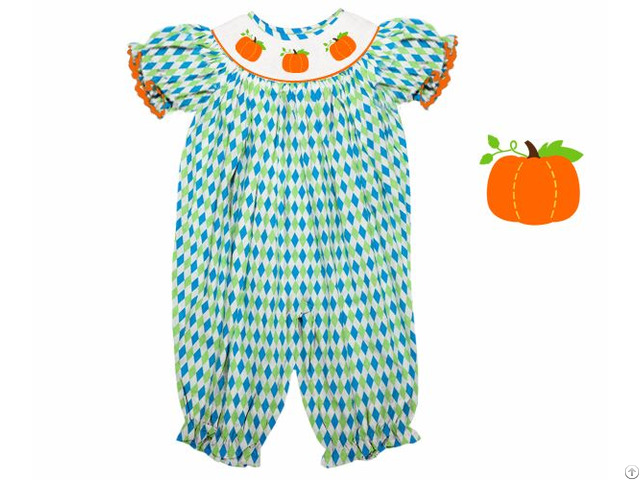 Pumpkin Hand Smocked Long Bubble For Baby Girl Bb723
