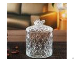 Clear Butterfly Decorative Candy Jars Round Lovely Bowl With Lids Eco Friendly
