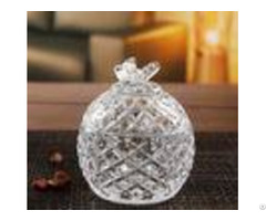 Round Clear Sugar Pot Glass Candy Jar House Glassware Decoration Gift
