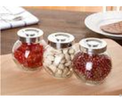 Transparent Hight White Glass Jar Container With Aluminum Lid Kitchenware