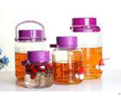 Large Food Glass Jar Container Wide Mouth Neck With Purple Lid Faucet 4l 30l
