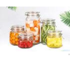 Round Transparent Glass Food Storage Canisters With Silicon Lid Eco Friendly