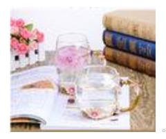 Flower Hight White Glass Water Set Decorative Juice Custom Painting Handmade