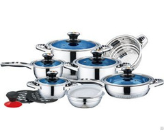 16pcs Blue Glass Lids Stainless Steel Cookware Set With Fish Bone Shape Handle