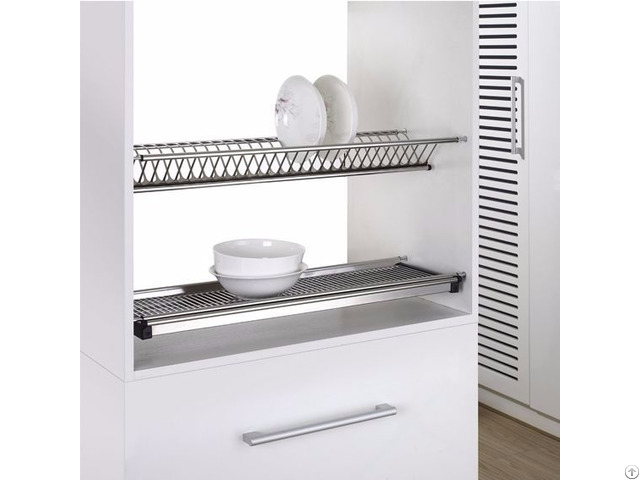 Dual-tier S.s. Dish Rack With Draining Plate