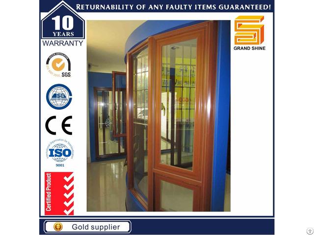 Wooden Grain Aluminum Double Glazed Casement Windows