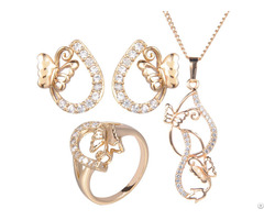 Cz Stone Butterfly 24k Italian Artificial Gold Plated Pendant Bridal Wedding Jewelry Sets