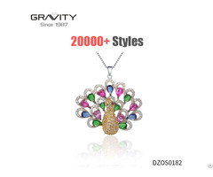 Unisex Custom Luxury Cz Gold Plating Peacock Pendant Necklace Jewelry