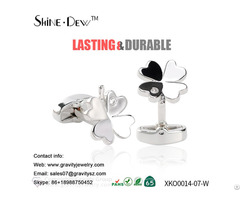 Custom Personalized 925 Sterling Silver Pave Setting Zircon Clover Shaped Cufflinks